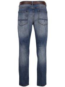Modré pánské vyšisované džíny s páskem s.Oliver