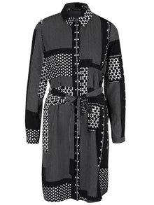 Krémovo-čierne šaty s opaskom a dlhým rukávom Dorothy Perkins