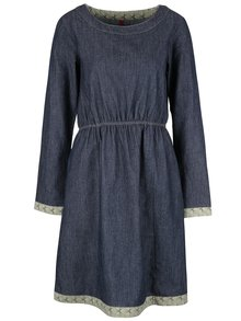Modré džínové šaty s dlouhým rukávem a zeleným lemem Tranquillo Magni