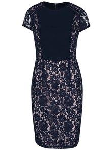 Tmavomodré čipkované šaty s krátkym rukávom Dorothy Perkins