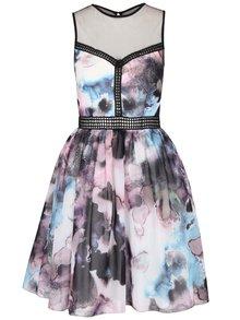 Krémové šaty s farebným vzorom a čiernymi čipkovanými detailmi Little Mistress