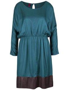 Petrolejové šaty s hnedým lemom Tranquillo Osmina