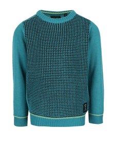 Čierno-tyrkysový chlapčenský melírovaný sveter Blue Seven