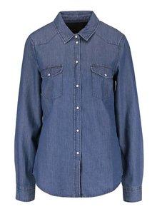 Modrá rifľová košeľa s dlhým rukávom VERO MODA Daisy