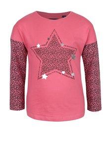 Ružové dievčenské tričko s dlhým rukávom a leopardím vzorom Blue Seven