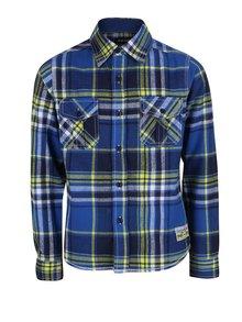 Žluto-modrá klučičí kostkovaná košile Blue Seven