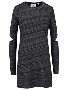 Tmavě šedé dámské žíhané šaty s dlouhým rukávem Cheap Monday Swirl