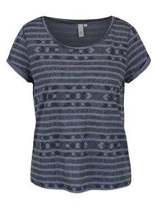 Modré dámske vzorované tričko QS by s.Oliver