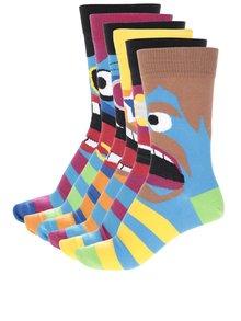Sada šesti pánských ponožek v modré a černé barvě s obličeji Oddsocks Funk