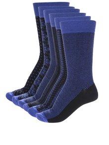 Sada šesti pánských vzorovaných ponožek v černé a modré barvě Oddsocks Suit
