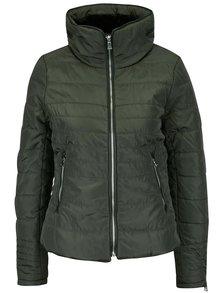 Tmavě zelená prošívaná bunda na zip s vysokým límcem VERO MODA Lulu