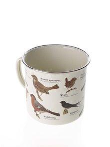 Krémový plechový hrnček s potlačou vtákov Gift Republic