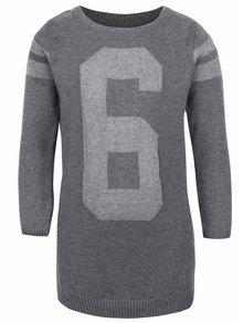 Šedé holčičí svetrové šaty s číslicí name it Lana