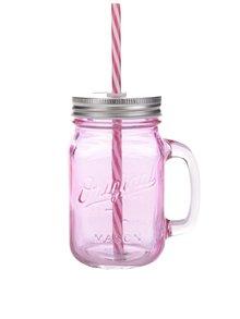 Ružový pohár so slamkou Sass & Belle