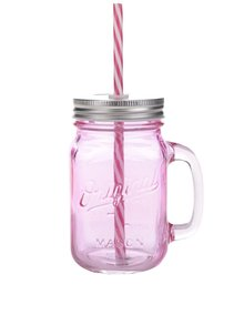 Růžová sklenička s brčkem Sass & Belle