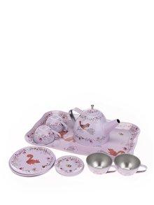 Ružová detská čajová súprava s motívom zvieratiek Sass & Belle