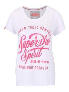Biele dámske tričko s ružovou potlačou Superdry