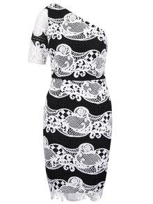 Bílo-černé krajkové šaty s jedním rukávem Little Mistress