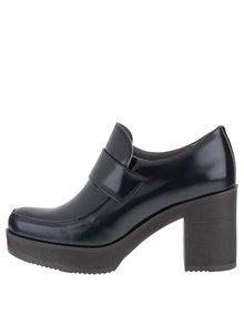 Tmavomodré kožené topánky na platforme OJJU