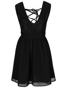Čierne krátke šaty so šnurovaním na chrbte LYDC