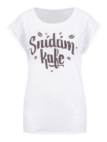 Biele dámske tričko ZOOT Original Snídám kafe