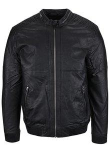 Čierna koženková bunda s vreckami ONLY & SONS Leo