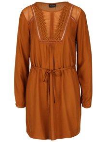 Světle hnědé šaty s krajkovými detaily VILA Molina