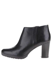 Černé kožené dámské kotníkové boty na vysokém podpatku Geox Raphal Mid