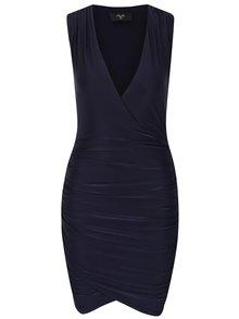Tmavě modré nařasené šaty s překládaným výstřihem AX Paris