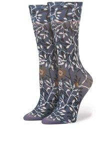 Tmavě modré dámské silonkové ponožky se vzorem Stance Blue Leaf