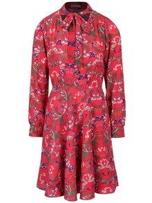 Tmavě růžové květované šaty s vázankou Trollied Dolly What A Scarf