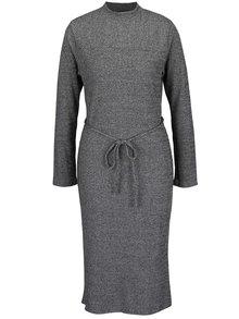 Šedé žíhané svetrové midišaty Mela London