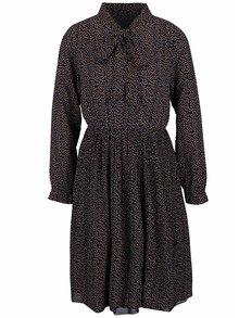 Tmavomodré vzorované šaty s viazankou Mela London