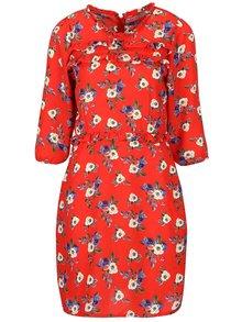 Červené šaty s volánikmi a 3/4 rukávom Trollied Dolly Frilly