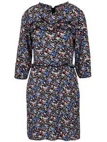 Modro-černé květované šaty s volánky Trollied Dolly Frilly