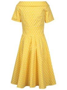 Žlté bodkované šaty s lodičkovým výstrihom Dolly & Dotty Darlene