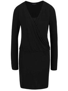 Černé šaty s překládaným topem VILA Several