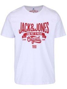 Bílé triko s potiskem Jack & Jones Rraffa