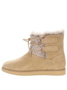 Hnedé semišové zimné topánky so šnurovaním Roxy Tara