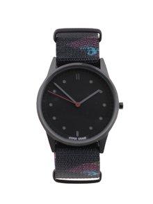 Černé pánské hodinky s textilním vzorovaným páskem HYPERGRAND