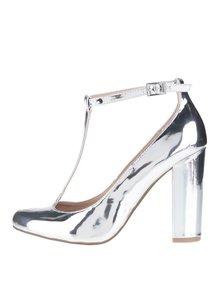 Pantofi argintii cu baretă pe gleznă Dorothy Perkins