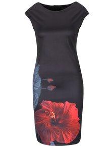 Černé šaty bez rukávů s potiskem květů Smashed Lemon