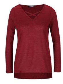 Vínové dámské tričko s pásky přes dekolt Haily´s Kira