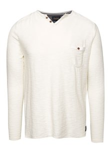 Krémový lehký svetr s knoflíky !Solid Eber