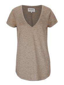 Hnědé dámské žíhané tričko Desires Gael