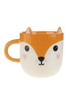 Krémovo-oranžový keramický hrnček s líškou Sass & Belle Hiro Fox Kawaii