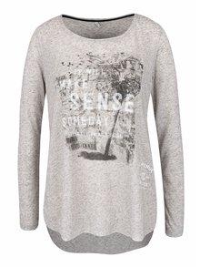 Sivé melírované tričko s potlačou a rozparkami ONLY Clara