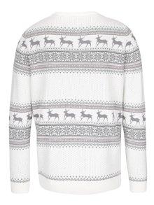 Pulover crem din bumbac cu motive de iarna - Selected Homme New Reindeer