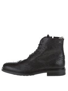 Černé kožené kotníkové brogue boty Jack & Jones Hugh
