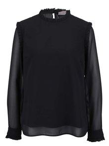 Bluză neagră VERO MODA Harly cu volănașe și mâneci transparente